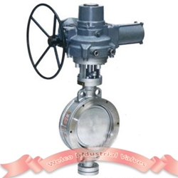 Motorized butterfly valve, triple offset